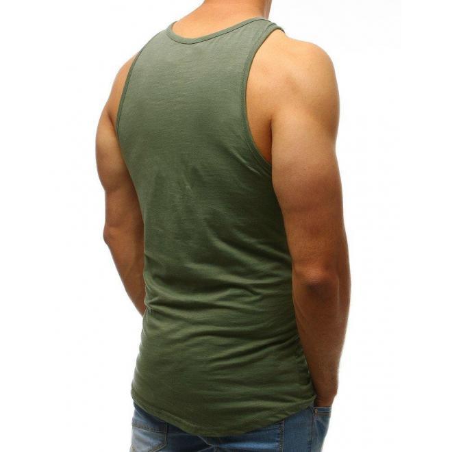 Pánske bavlnené tričko s potlačou v zelenej farbe