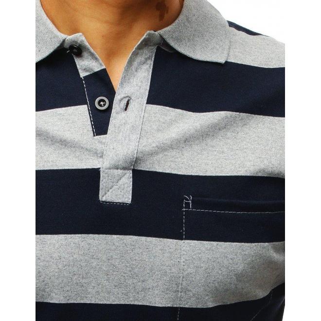 Pásikavá pánska polokošeľa sivo-modrej farby s vreckom na hrudi