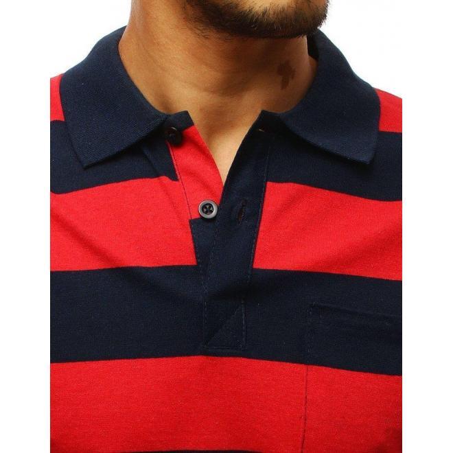 Červeno-modrá pásikavá polokošeľa s vreckom na hrudi pre pánov