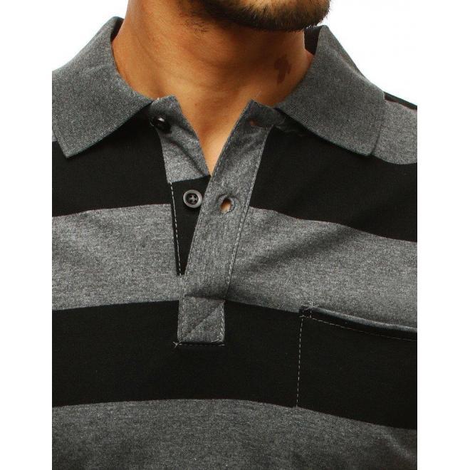 Pánska pásikavá polokošeľa s vreckom na hrudi v sivo-čiernej farbe