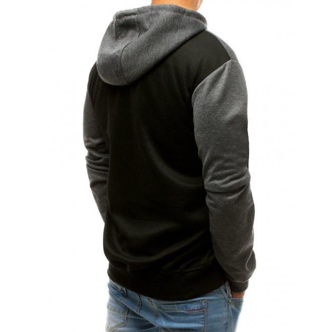 Módna pánska mikina sivo-čiernej farby s kapucňou