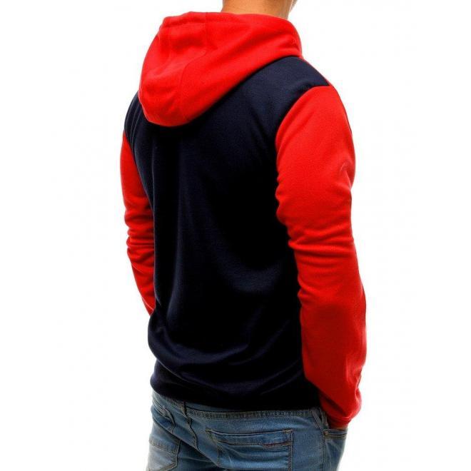 Červeno-modrá módna mikina s kapucňou pre pánov
