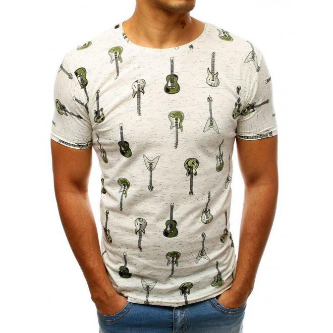Pánske bavlnené tričko s motívom gitár v bielej farbe