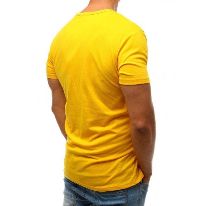 Žlté športové tričko s potlačou pre pánov