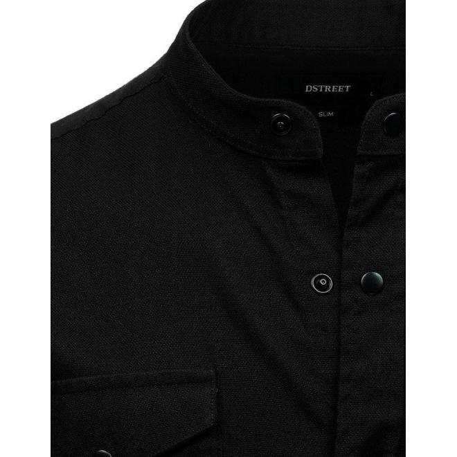 Pánska neformálna košeľa so stojacím golierom v čiernej farbe