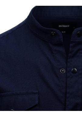 Tmavomodrá neformálna košeľa so stojacím golierom pre pánov