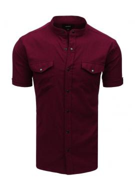 Neformálna pánska košeľa bordovej farby so stojacím golierom