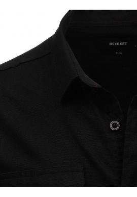 Pánska módna košeľa s klasickým golierom v čiernej farbe