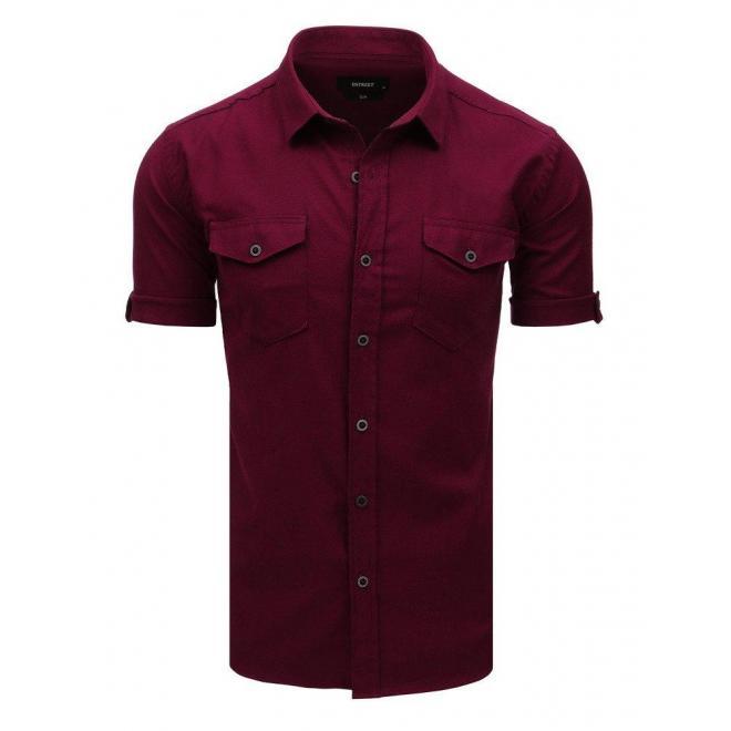 Bordová módna košeľa s klasickým golierom pre pánov
