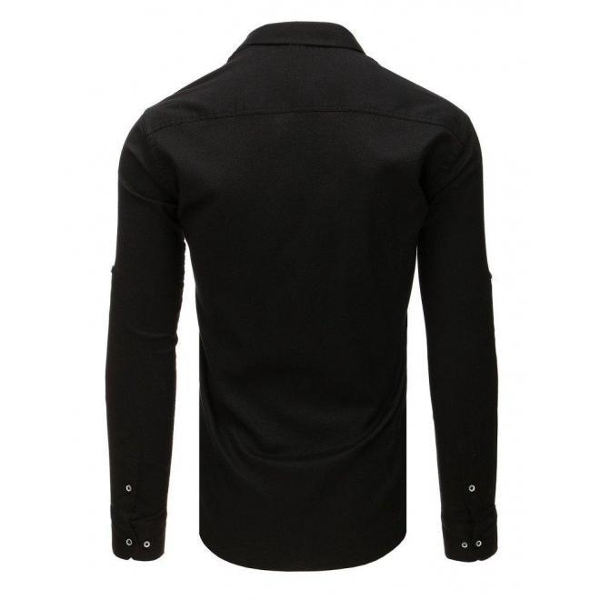 Čierna klasická košeľa s dlhým rukávom pre pánov