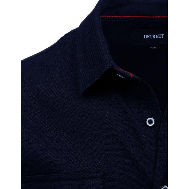 Pánska klasická košeľa s dlhým rukávom v tmavomodrej farbe