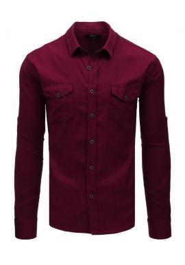 Klasická pánska košeľa bordovej farby s dlhým rukávom