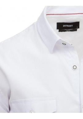 Biela klasická košeľa s dlhým rukávom pre pánov