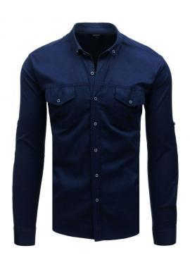 Pánska neformálna košeľa s dlhým rukávom v tmavomodrej farbe