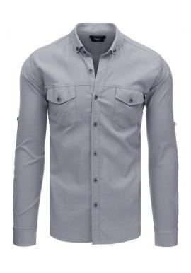 Neformálna pánska košeľa sivej farby s dlhým rukávom