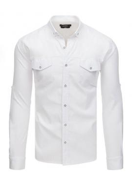 Biela neformálna košeľa s dlhým rukávom pre pánov