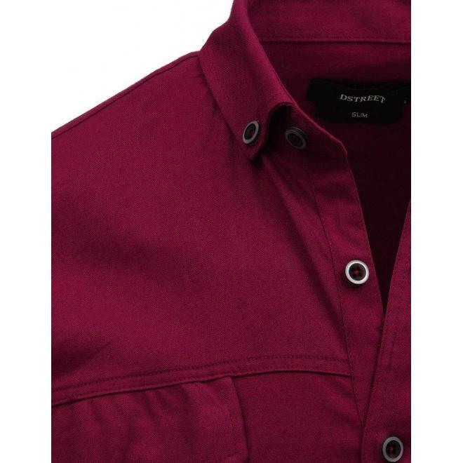 Pánske neformálne košele s dlhým rukávom v bordovej farbe