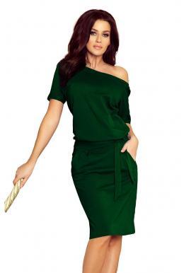 4eb3026c2 Bavlnené dámske šaty zelenej farby s krátkym rukávom ...