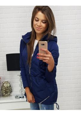 Dámska prešívaná bunda s kapucňou v tmavomodrej farbe