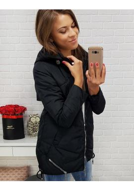 Čierna prešívaná bunda s kapucňou pre dámy