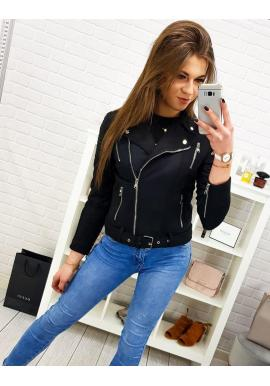 Čierna prechodná bunda s prešívanými prvkami pre dámy