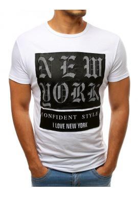 Módne pánske tričko bielej farby s potlačou