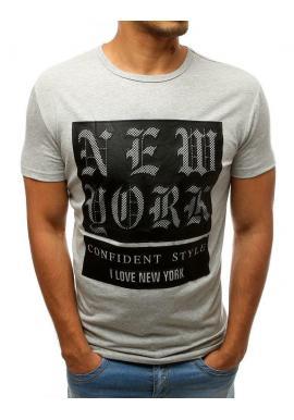Sivé módne tričko s potlačou pre pánov
