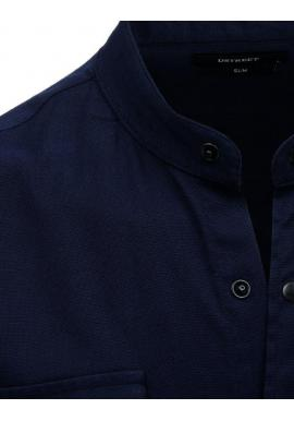 Tmavomodrá módna košeľa so stojacím golierom pre pánov