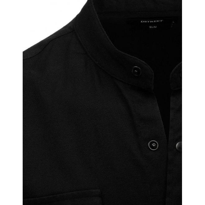 Pánska módna košeľa so stojacím golierom v čiernej farbe
