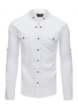 Módna pánska košeľa bielej farby so stojacím golierom