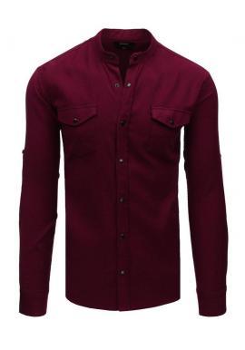 Bordová módna košeľa so stojacím golierom pre pánov