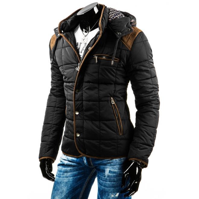 Pánska prešívaná zimná bunda čiernej farby so záplatami