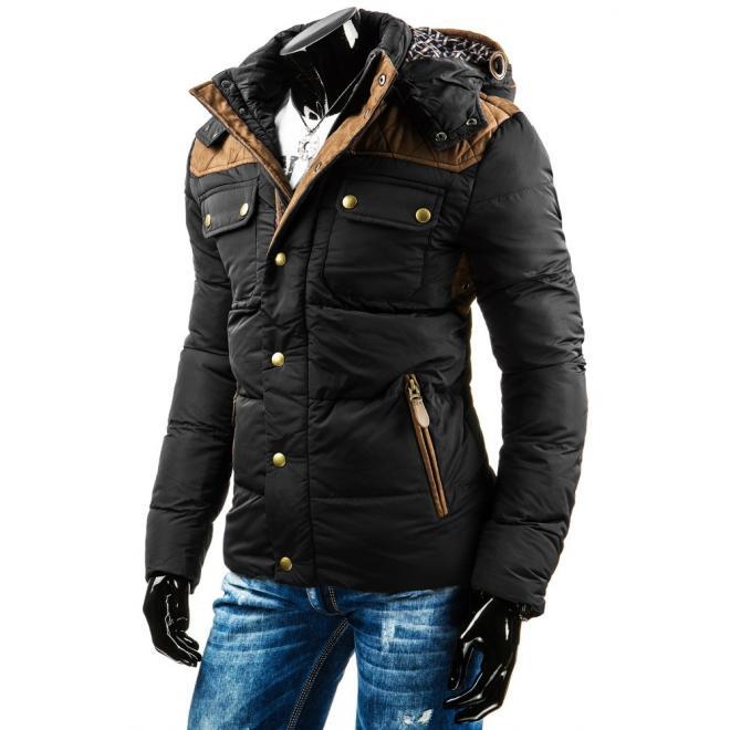 Zimná pánska bunda čiernej farby s hnedými aplikáciami
