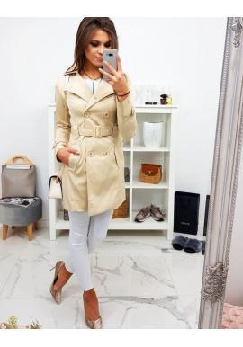 Dvojradový dámsky kabát krémovej farby s opaskom