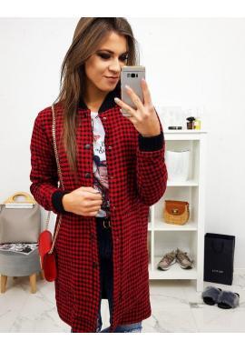 Kockovaný dámsky kabát červeno-čiernej farby s gombíkmi