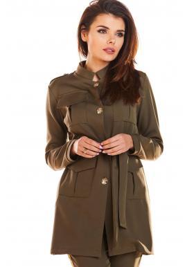 Kaki módny plášť vo vojenskom štýle pre dámy