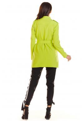 Módny dámsky plášť limetkovej farby vo vojenskom štýle