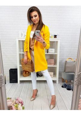 Dámsky elegantný kabát na jar v žltej farbe
