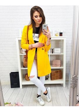 Žltý jarný kabát s dvomi gombíkmi pre dámy