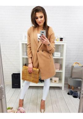 Dámsky jarný kabát s dvomi gombíkmi v hnedej farbe