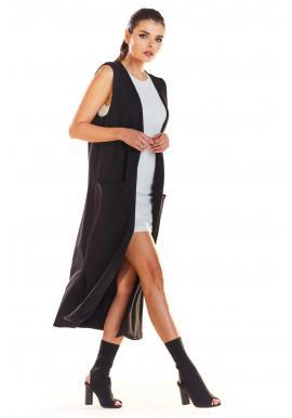Dlhá dámska vesta čiernej farby s vreckami