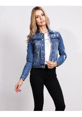 Modrá štýlovo roztrhaná riflová bunda pre dámy