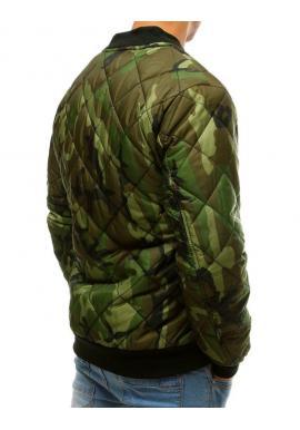 Prešívaná pánska bunda zelenej farby s maskáčovým vzorom
