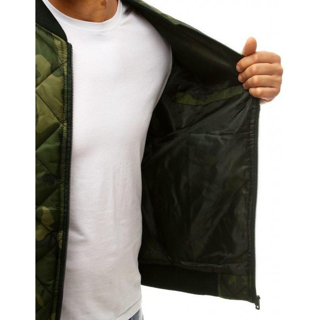 Pánska prešívaná bunda s maskáčovým vzorom v kaki farbe