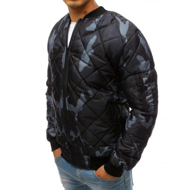 Tmavomodrá prešívaná bunda s maskáčovým vzorom pre pánov
