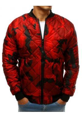 Prešívaná pánska bunda červenej farby s maskáčovým vzorom