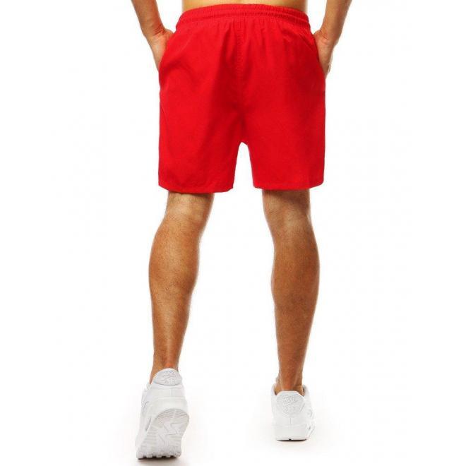 Pánske módne kraťasy na kúpanie v červenej farbe