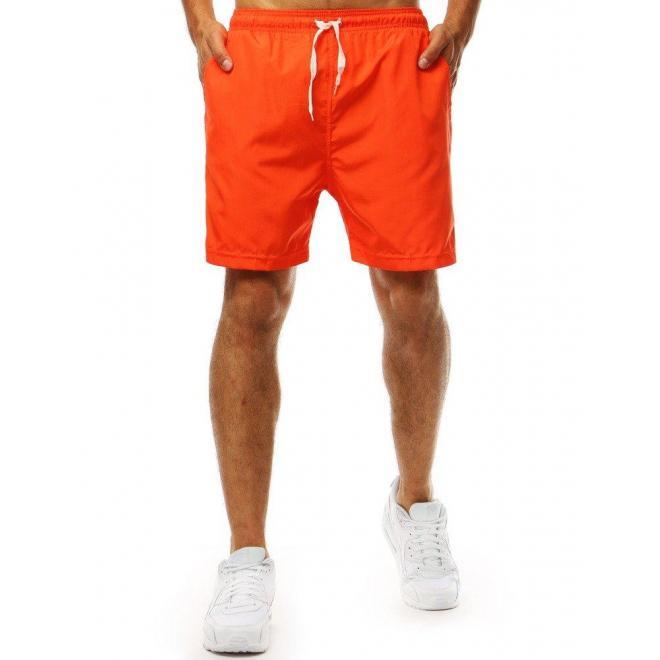 Módne pánske kraťasy oranžovej farby na kúpanie