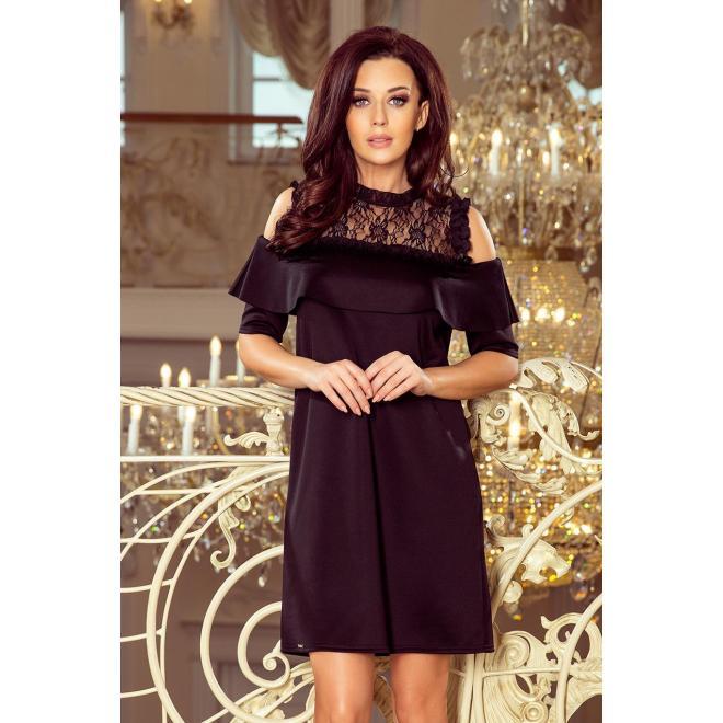 Voľné dámske šaty čiernej farby s čipkou