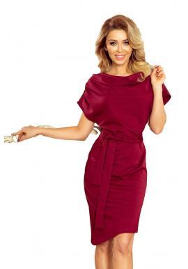 Bordové asymetrické šaty s opaskom pre dámy